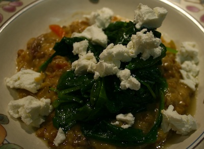 lentils, goat cheese, broth, greens