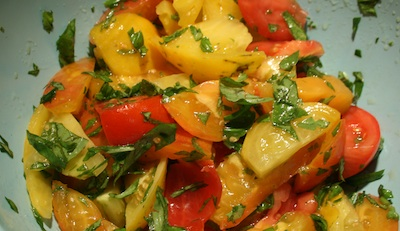 tomatoes, herbs, balsamic, olive oil